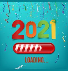 new year 2021 loading bar on celebrating vector image