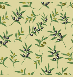 Olive seamless pattern with leaves olives vector