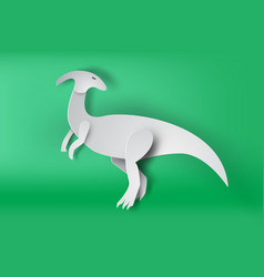 paper art of parasaurolophus dinosour on green vector image vector image
