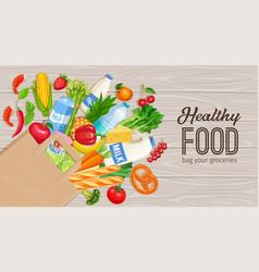 paper bag groceries vector image