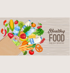 paper bag of groceries vector image