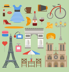 paris icons set cuisine traditional modern vector image
