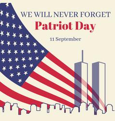 patriot day in usa square banner card with the vector image