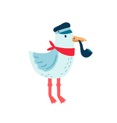 Pirate seagull funny sailor vector