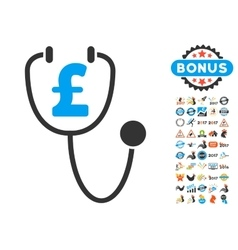 Pound Health Icon With 2017 Year Bonus Pictograms vector image
