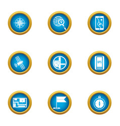 Precise navigation icons set flat style vector