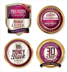 premium quality golden labels 5 vector image