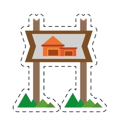 Real estate cottage housing sign cut line vector