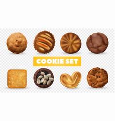 realistic cookies transparent set vector image