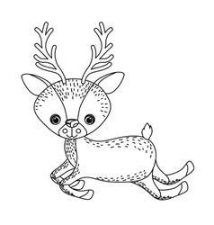 reindeer cute wildlife icon vector image
