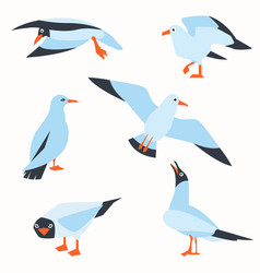 Sea gull a beautiful bird cute bird in cartoon vector