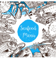 Seafood menu template fish crabs shrimp lobster vector
