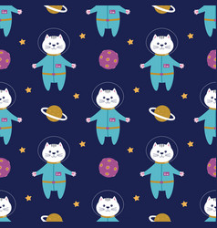 seamless pattern with astronaut cat in space vector image
