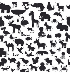 Seamless pattern with black animals silhouettes vector