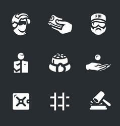 set of corruption and punishment icons vector image