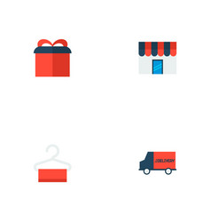 Set of store icons flat style symbols with gift vector