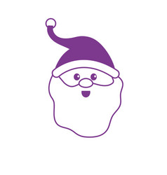 silhouette santa claus head with beard and hat vector image