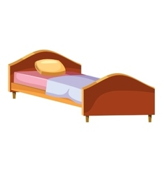 Single wooden bed icon cartoon style vector image