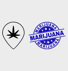 stroke cannabis map marker icon and vector image