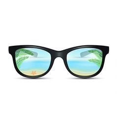 Summer sunglasses with beach reflection vector