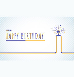 template happy birthday greeting card with candle vector image