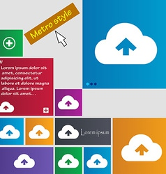 Upload from cloud icon sign Metro style buttons vector image