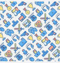 Video game seamless pattern with thin line icons vector