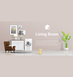 warm and bright living room background vector image
