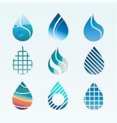 Water drop logo - icon set vector