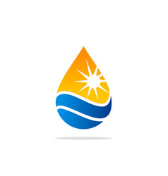 Water drop nature sun energy logo vector