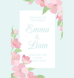 Wedding invitation template cherry sakura blossom vector