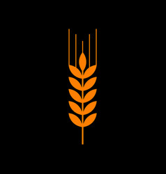 wheat sign spike spica orange icon vector image