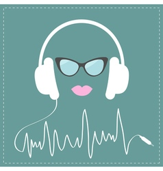 White headphones with digital track line cord vector