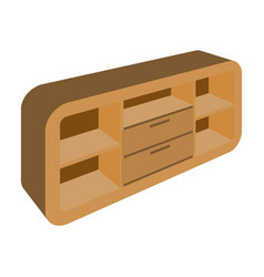 wooden cabinet with lockers and cupboardstv stand vector image