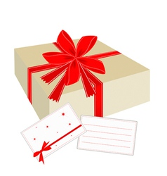 A Gift Box with Red Ribbon and Blank Card vector image