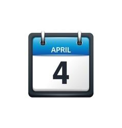 April 4 Calendar icon flat vector image vector image