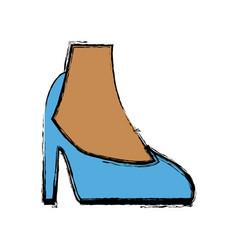Female feet in high heel blue classic stiletto vector