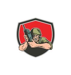 World War Two American Soldier Field Radio Shield vector image
