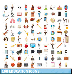 100 education icons set cartoon style vector image
