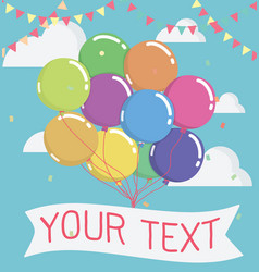 Balloon with message on banner vector