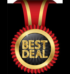 Best deal golden label with red ribbons vector image