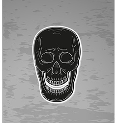 black skull with open mouth vector image