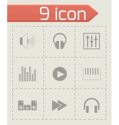 black sound icons set vector image vector image