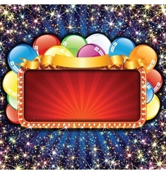 Bright billboard with balloons vector