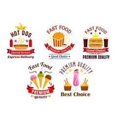 Fast Food icons Snacks drinks desserts labels vector image vector image