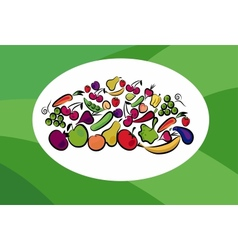 fruits and vegetables on card vector image vector image