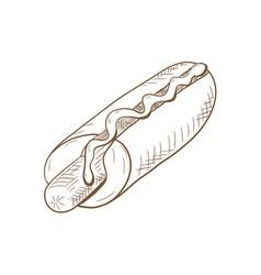hot dog hand drawn sketch vector image
