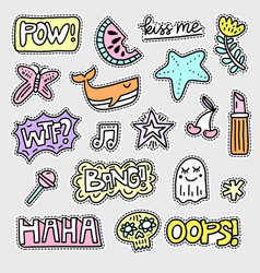 Set of patch designs vector