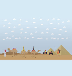 trip to egypt pyramids riding camels concept vector image vector image