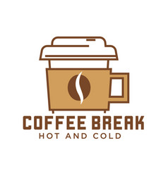 coffee break cafe with hot and cold drinks emblem vector image